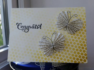 A Bit Of Glue & Paper - handmade clean and simple wedding card with paper butterfly embellishments, stenciled gold dots, stamped with Congrats!; Stamp Ink Paper 96 #SIP96 - Vancouver BC