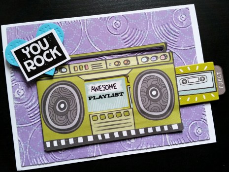 A Bit Of Glue & Paper - handmade Mother's Day card, boombox, YOU ROCK, embossed record background