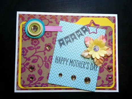 A Bit Of Glue & Paper - handmade Mother's Day card, rhinestones, bright floral paper, fabric flower, punched tabs