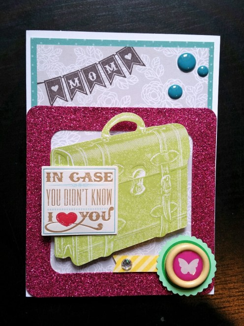 A Bit Of Glue & Paper - handmade Mother's Day card, suitcase, pink glitter frame, enamel dots, stamped with MOM bunting