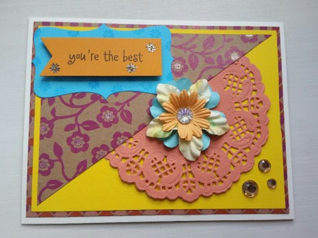 A Bit Of Glue & Paper - handmade Mother's Day card, yellow, orange and pink, fabric flower, rhinestones, doily