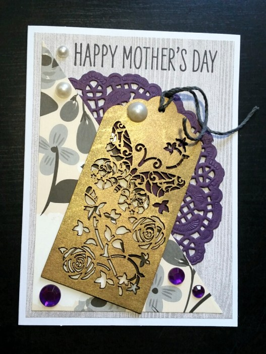 A Bit Of Glue & Paper - Mother's Day card with purple doily and rhinestones, wooden tag inked with gold, pearls, neutral floral paper