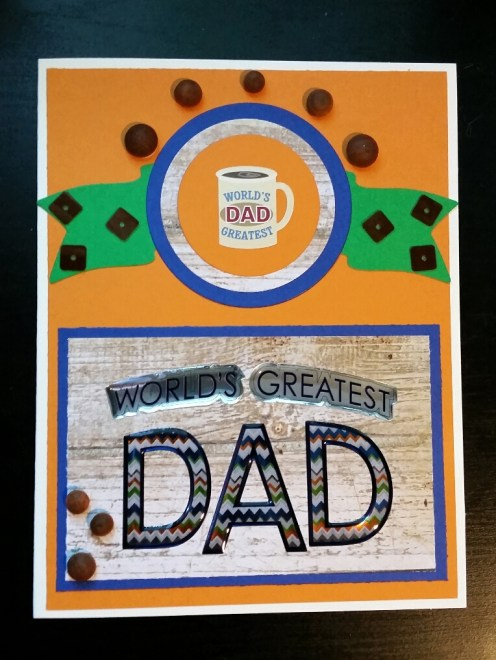 A Bit Of Glue & Paper - handmade wood themed Father's Day card with wooden dot embellishments, World's Greatest Dad sentiment, mug sticker - Vancouver BC