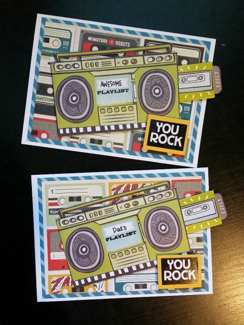 A Bit Of Glue & Paper - handmade Father's Day cards with cassette tape paper and boombox die cut, YOU ROCK sentiment - Vancouver BC