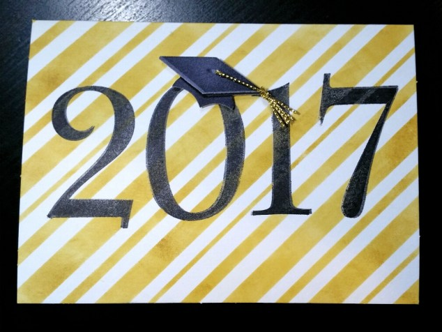 A Bit Of Glue & Paper - graduation card 2017 gold stripes with grad cap sticker on zero - Vancouver BC