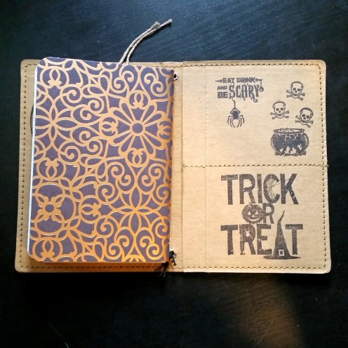 A Bit Of Glue & Paper - stamped Tree Leather passport fauxdori notebook cover TN, trick or treat, skulls, spider, inside back cover - Vancouver BC