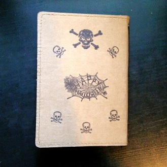 A Bit Of Glue & Paper - stamped Tree Leather passport fauxdori notebook cover TN, skulls and crossbones, Happy Halloween, back cover - Vancouver BC