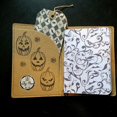 A Bit Of Glue & Paper - stamped Tree Leather passport fauxdori notebook cover TN, jackolanterns, pumpkins, 31st, handmade insert, inside cover - Vancouver BC