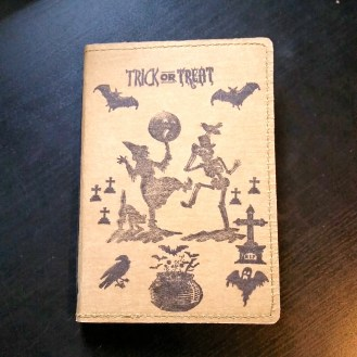 A Bit Of Glue & Paper - stamped Tree Leather passport fauxdori notebook cover TN, witch, skeleton, trick or treat, cemetery, crow, ghost, cauldron; front cover - Vancouver BC