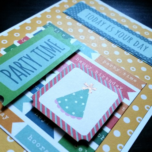 A Bit Of Glue & Paper - masculine birthday card, yellow, green, blue, sentiment cut outs, party hat - Vancouver BC