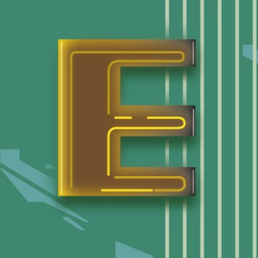 A letter E in the style of a vintage sign