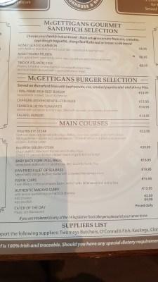 McGettigans Menu