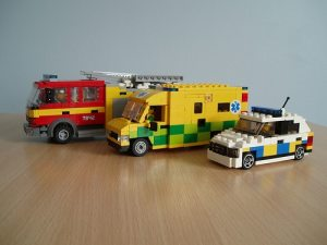 a picture of lego emergency vehicles