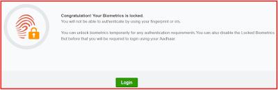 Aadhar card biometric data lock