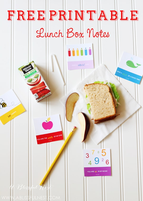 Free Printable Lunch Box Notes by A Blissful Nest