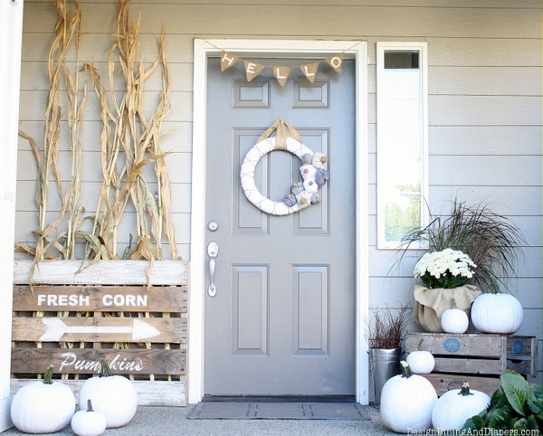 10 fall front porch decorating ideas by a blissful nest this front porch fall decor