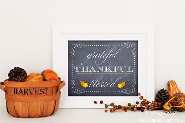 {Free Printable} Grateful, Thankful, Blessed Art Print