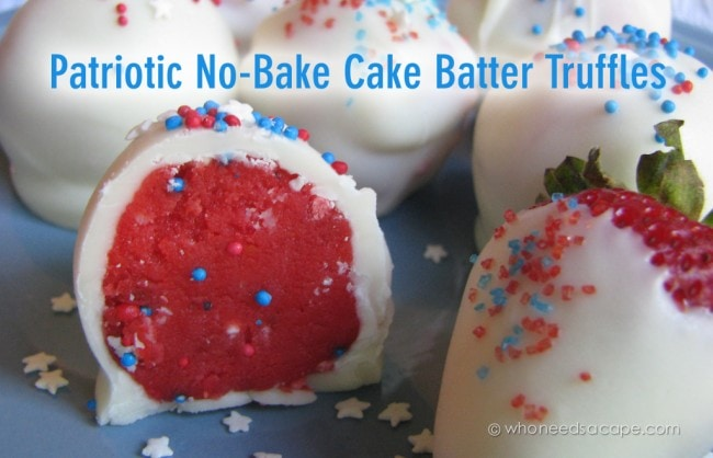 Patriotic No Bake Cake Batter Truffles
