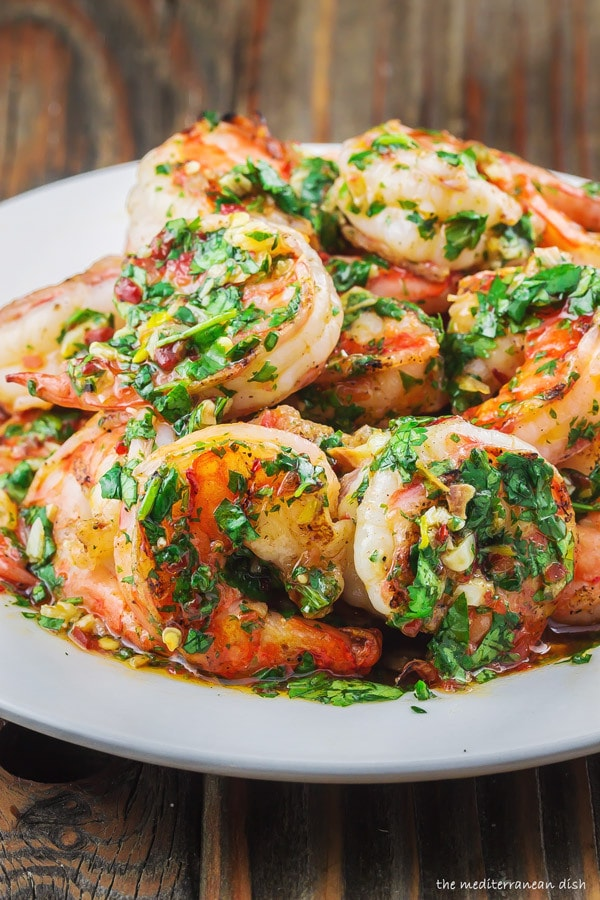Grilled Shrimp with Garlic Cilantro Sauce