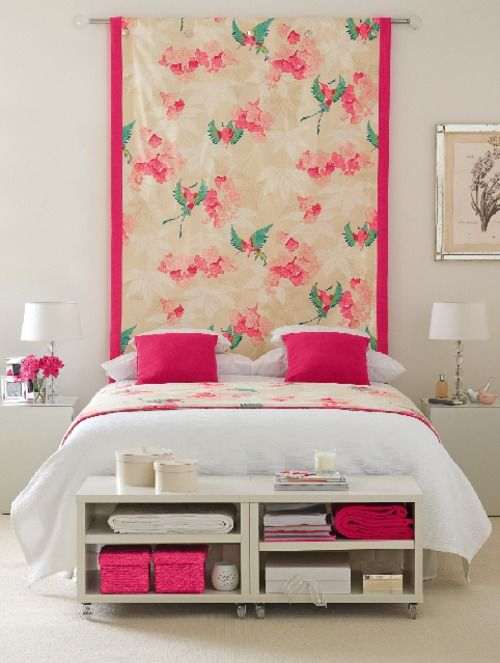 Hang fabric behind a bed for a dramatic look