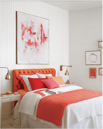 use colorful art above your bed for a dramatic effect in your room. More ideas for decorating above the bed on A Blissful Nest. https://ablissfulnest.com/
