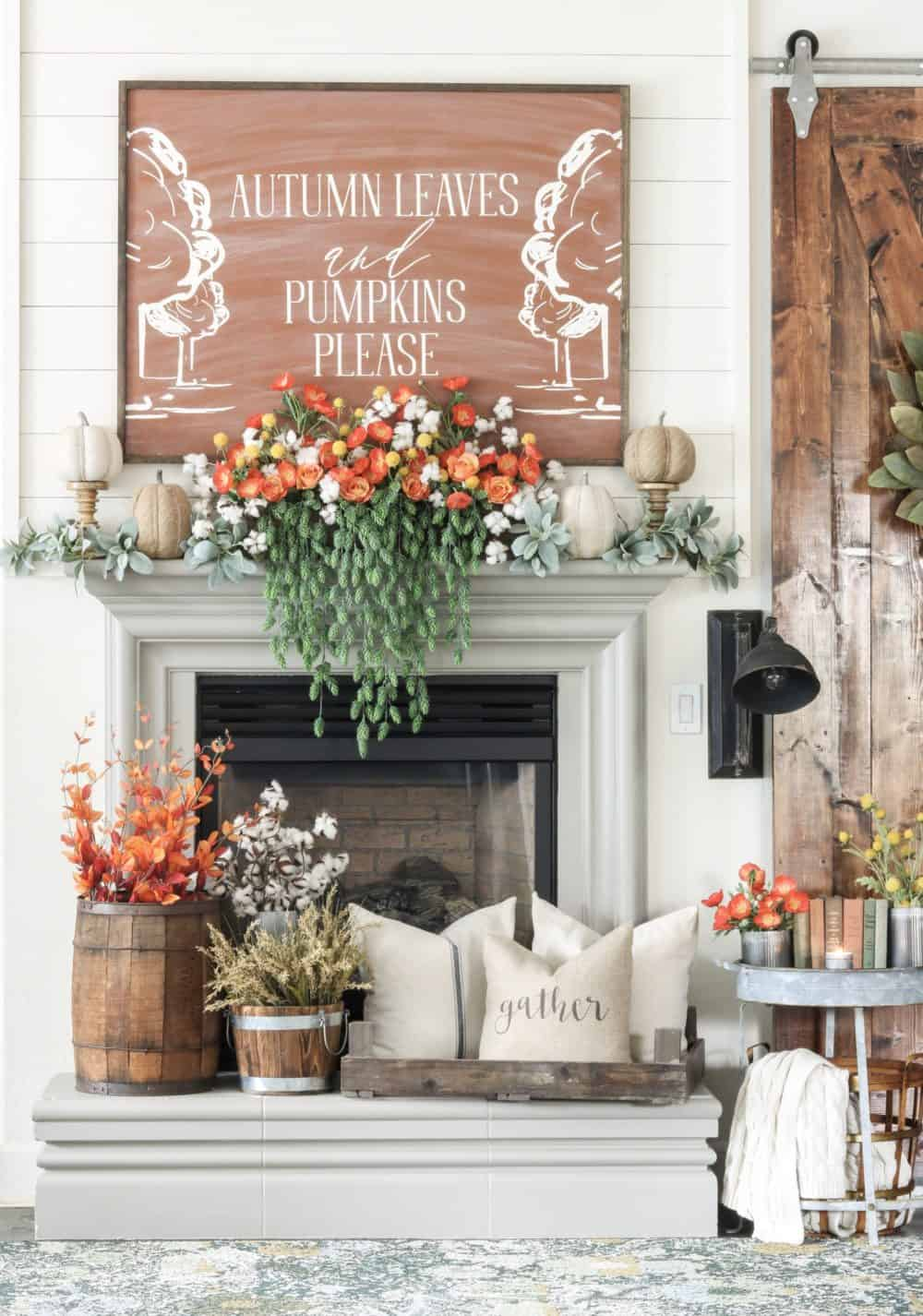 This sign makes this fall mantel! It is amazing!