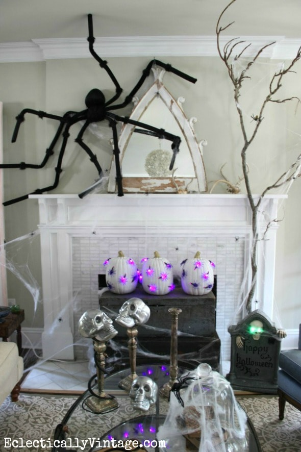 Eclectically Vintage Halloween Mantel