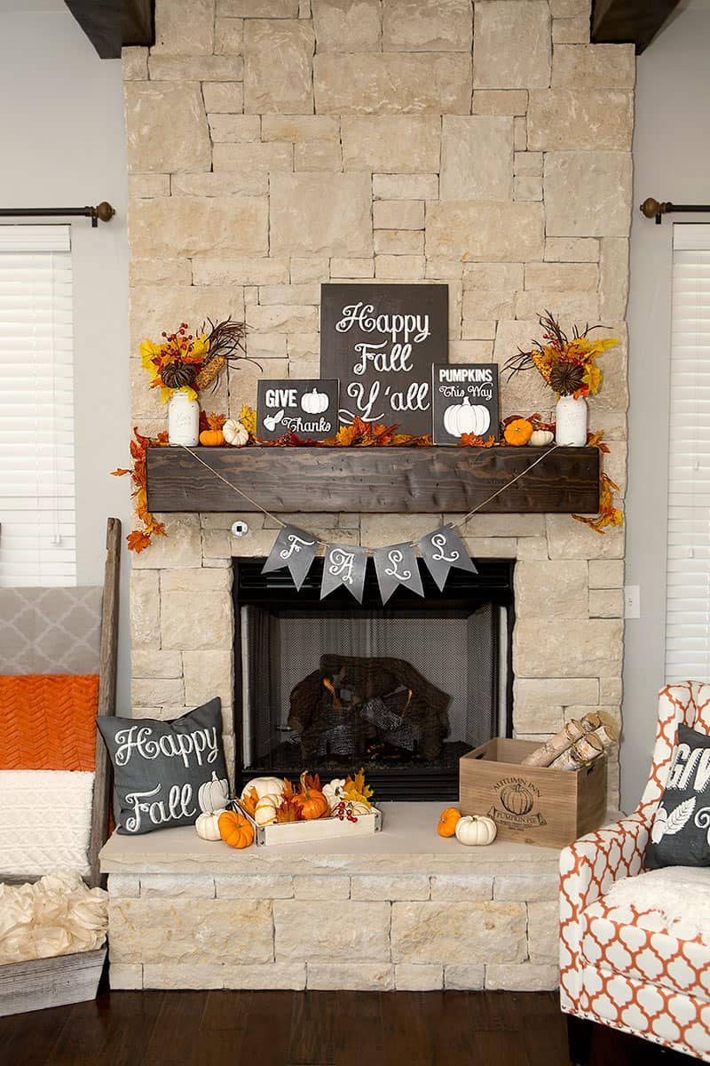 Play up the features of your mantle like this fall mantel idea.