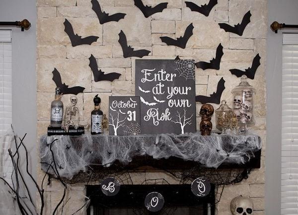 Neutral Halloween Mantel Ideas by Lillian Hope Designs