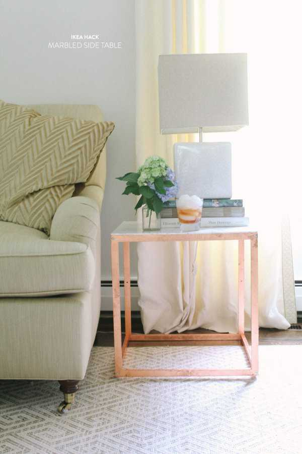 IKEA Hack Gold Painted Faux Marble Top Table