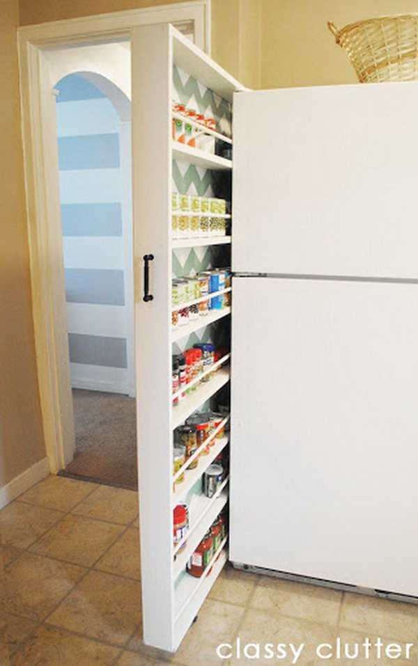 Roll Out Canned Food Slide Storage, 25 Kitchen Organization Ideas