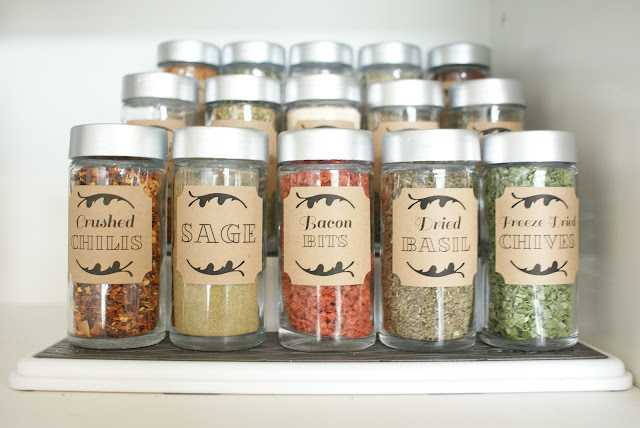 Spice Cupboard with Labels and Riser, 25 Kitchen Organization Ideas