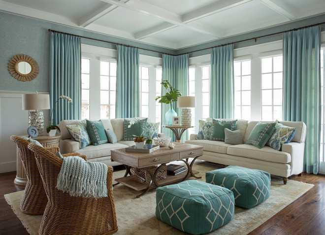 Turquoise Coastal Living Room Design