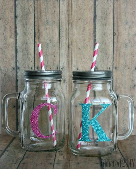 Glitter Monogram Mason Jar, 20 Ways to Use Mason Jars