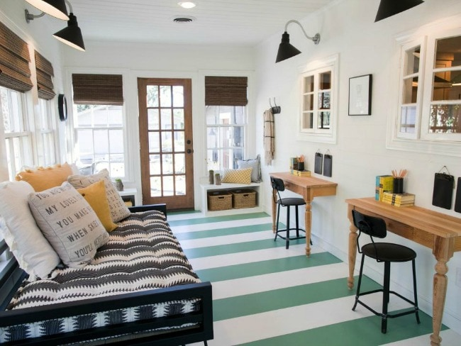 This multi-purpose room functions as a guest room, office space, and chill zone and it does so without looking like a catch-all. HGTV Cottage Charmer, 20 Best Fixer Upper Rooms