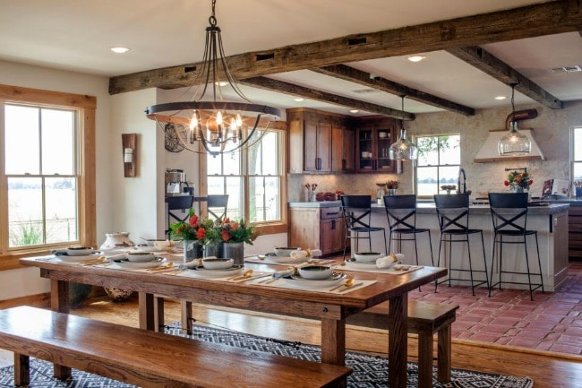 This cozy farmhouse kitchen looks just rustic enough without going overboard. Perfect place for breakfast! HGTV Family Home Rescurrected, 20 Best Fixer Upper Rooms