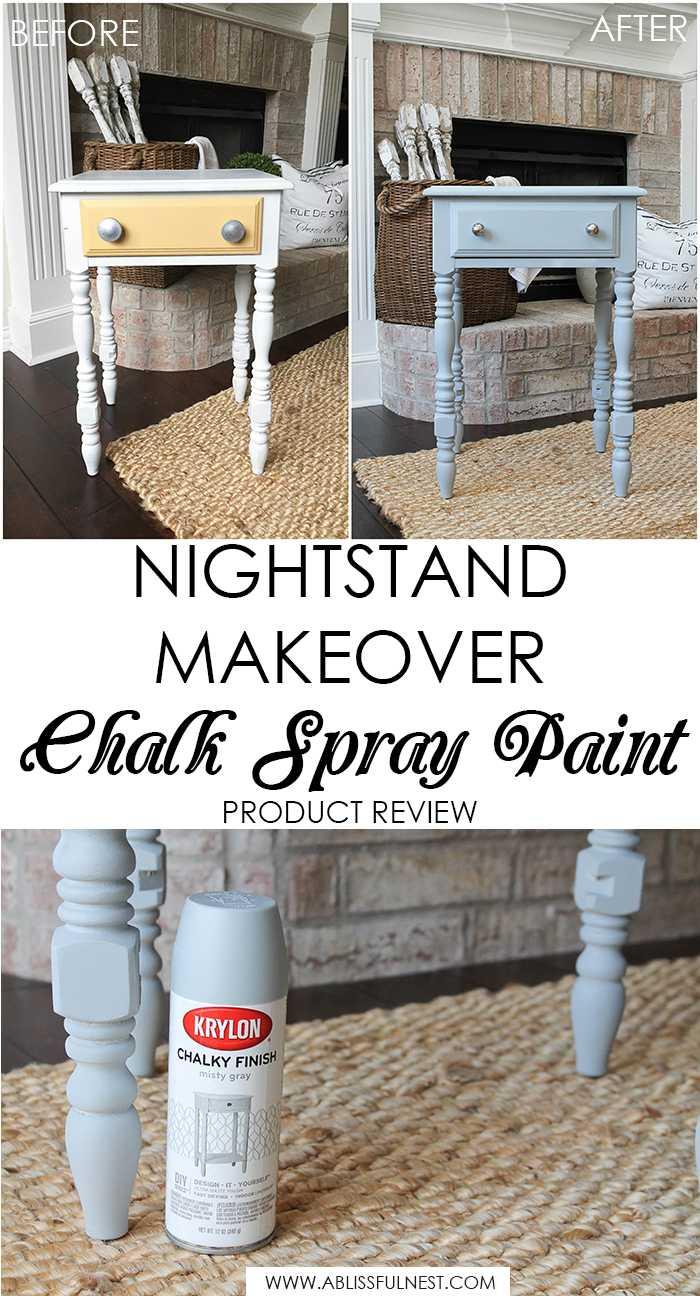 DIY Nightstand Makeover Using Chalk Spray Paint