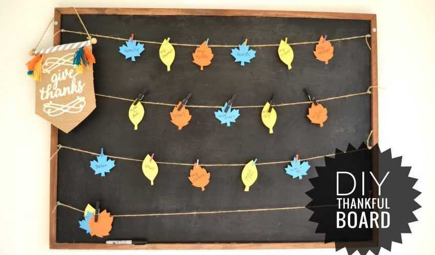 Celebrate all that your family is thankful for with this simple DIY Thankful Board! See all the details on http://www.ablissfulnest.com #Thanksgiving #ThanksgivingCraft #Thankful