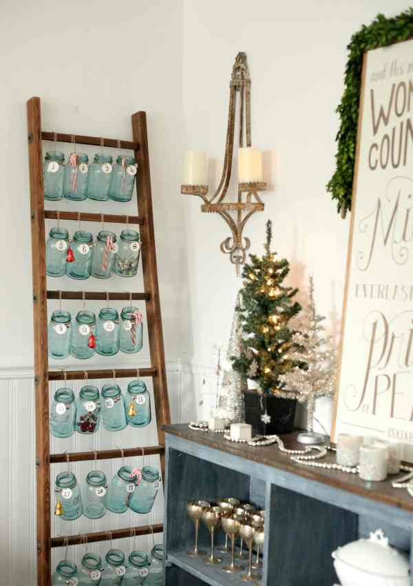 Antique Ladder and Mason Jar Advent Calendar