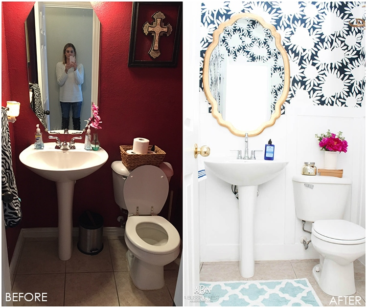 This is such a huge transformation on this bathroom with not many updates. Checkout how with a few simple changes you can get a wow factor bathroom remodel. See more on https://ablissfulnest.com/ #bathroomremodel #bathroommakeover #ad #deltafaucet #deltaliving