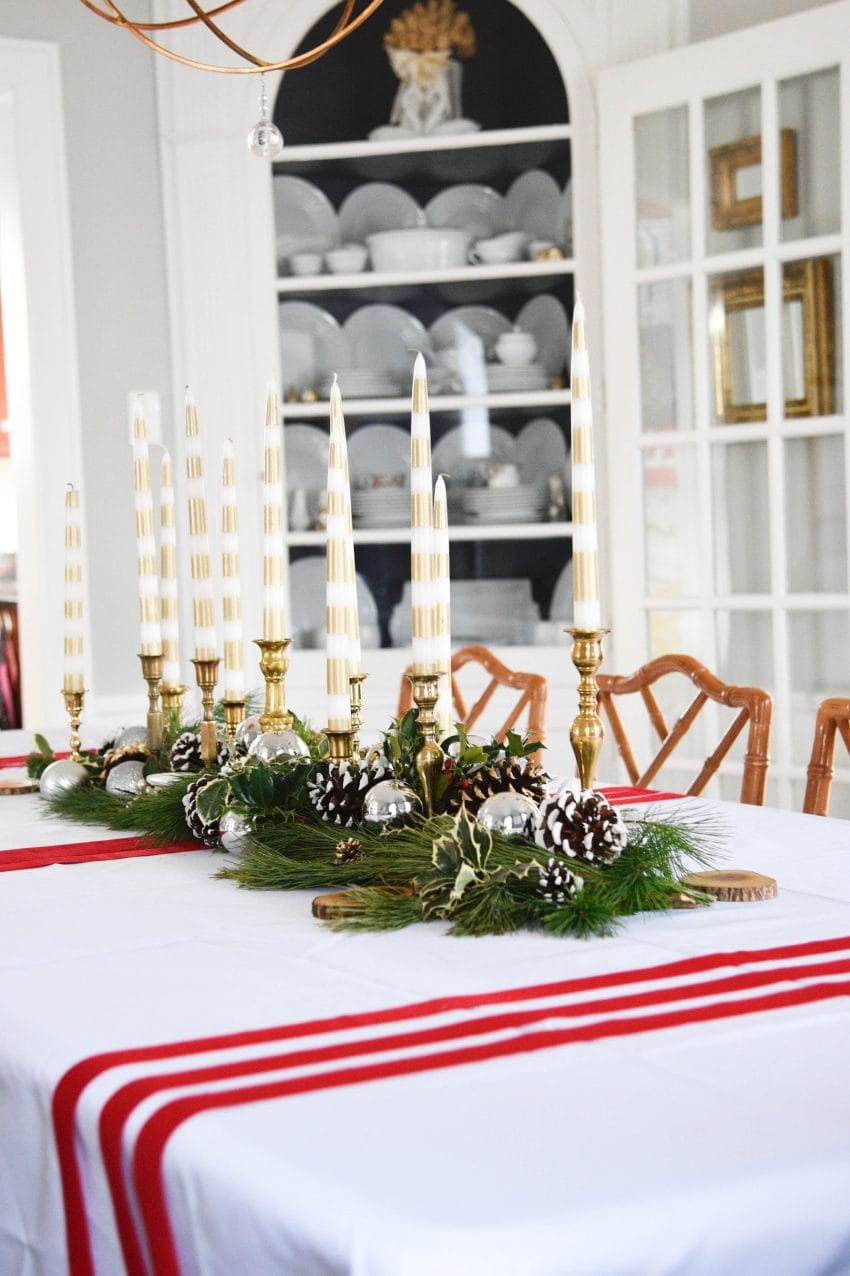Here are some amazing tips to create the most beautiful budget Christmas Tablescape. You are going to wow your guests! See it all on http://www.ablissfulnest.com/ #Christmas #BudgetDecor #ChristmasTablescape