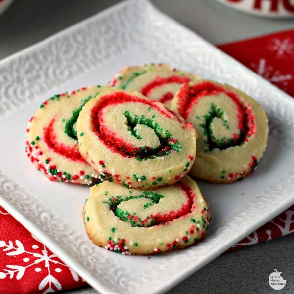 Santa's Swirl Sugar Cookies, 30 Delicious Christmas Cookie Recipes via A Blissful Nest