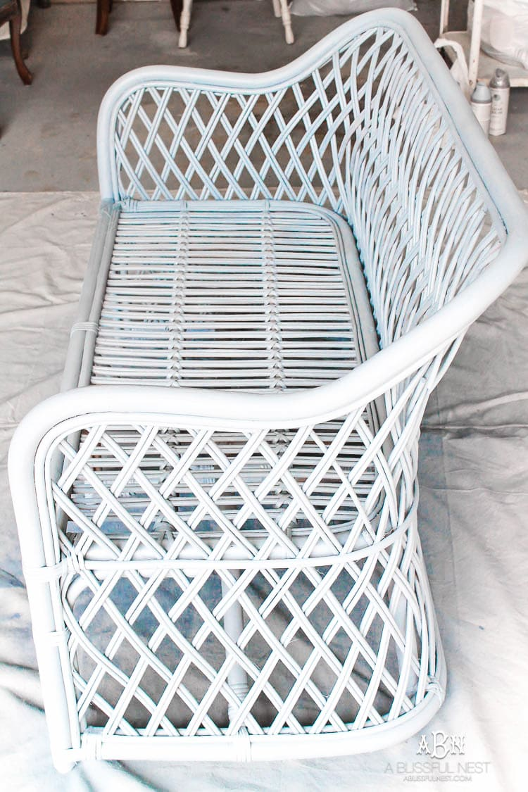 This is such an amazing transformation on this DIY rattan bench makeover! I love the new Devine paint colors from Target!! #ad #DevineTargetStyle