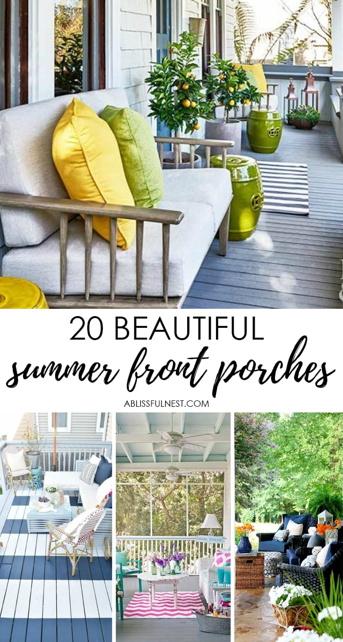 20 Beautiful Summer Front Porches by A Blissful Nest. #ABlissfulNest #summer #summerfrontporch #summerdecorating