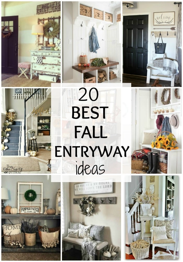 Adore these fall entryway ideas. Grab the best fall entryway ideas on https:ablissfulnest.com/ #falldecor #falldecorating #fallentrydecor