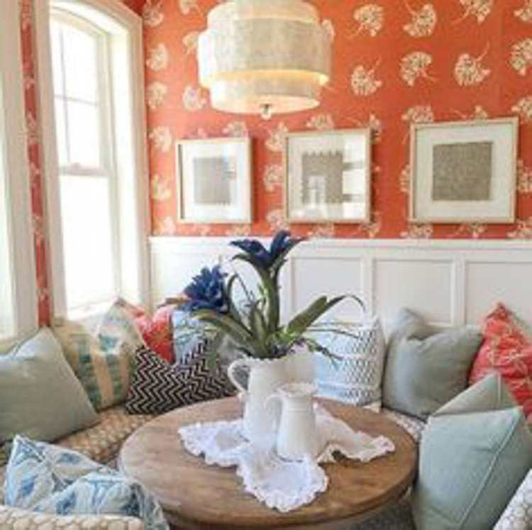 Simple tips on how to decorate with orange, from adding pops of pillows to wallpaper are on the blog, head over to https://ablissfulnest.com #interiordesign #designtips #popofcolor