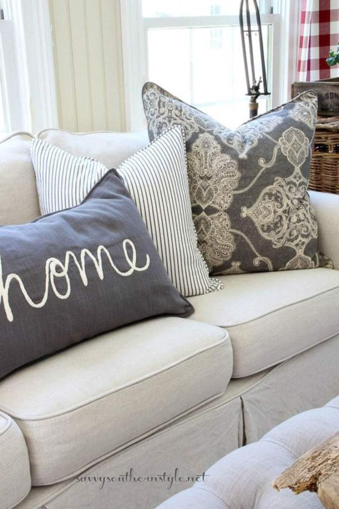 These throw pillows are different sizes, but just the right size for the fit of the couch