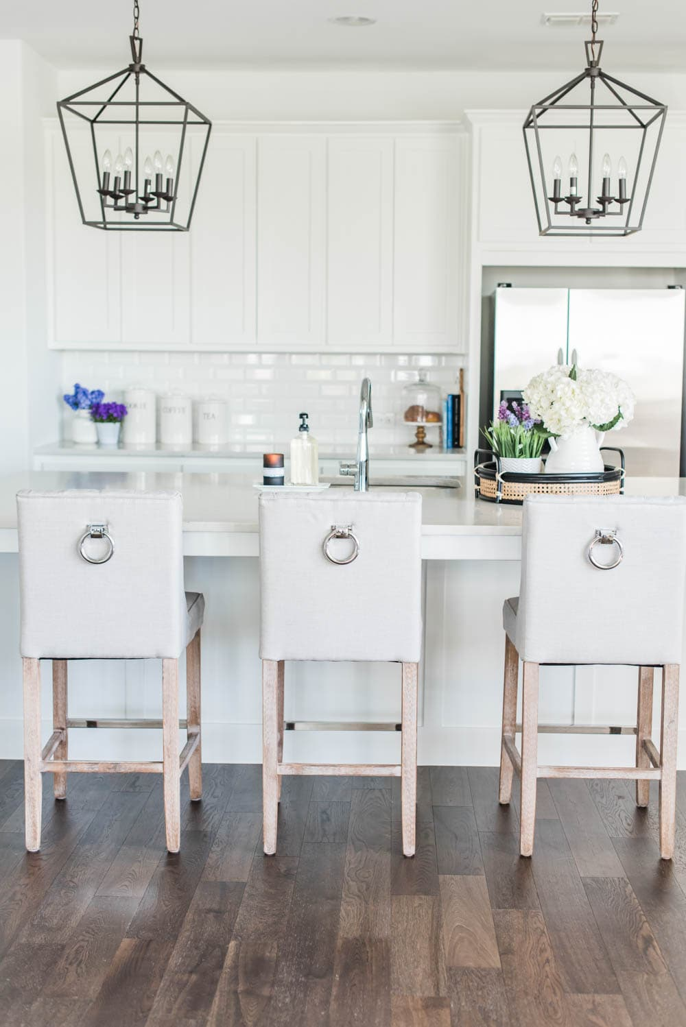 Beautiful Summer Accents In This All White Kitchen. More White Kitchen Ideas  On Https:
