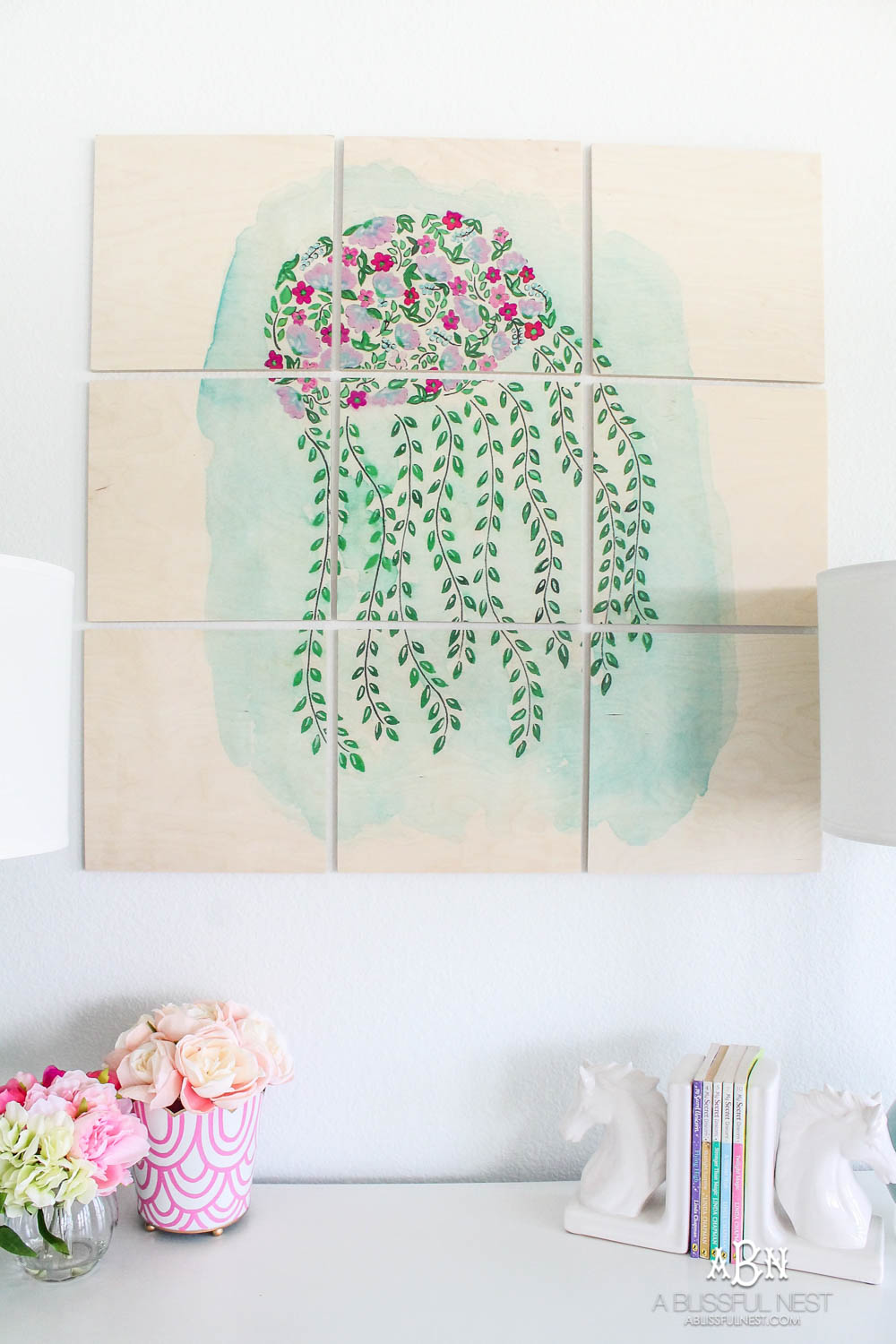 The sweetest little girls room updated with custom wall artwork! #ABlissfulNest #ad #society6