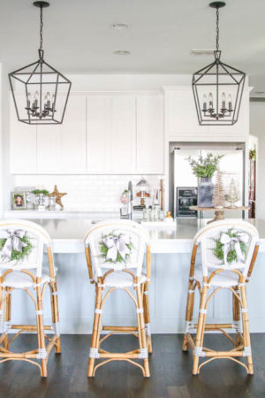 blue and silver christmas kitchen decor all white kitchen with subtle holiday decor for a
